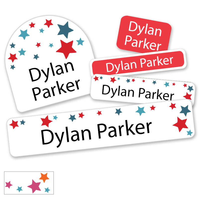 Back to school labels with red blue stars US