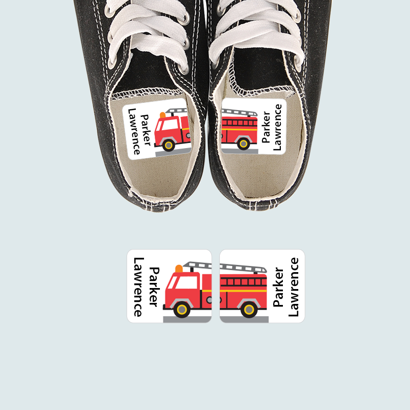 Firetruck Preschool Shoe labels