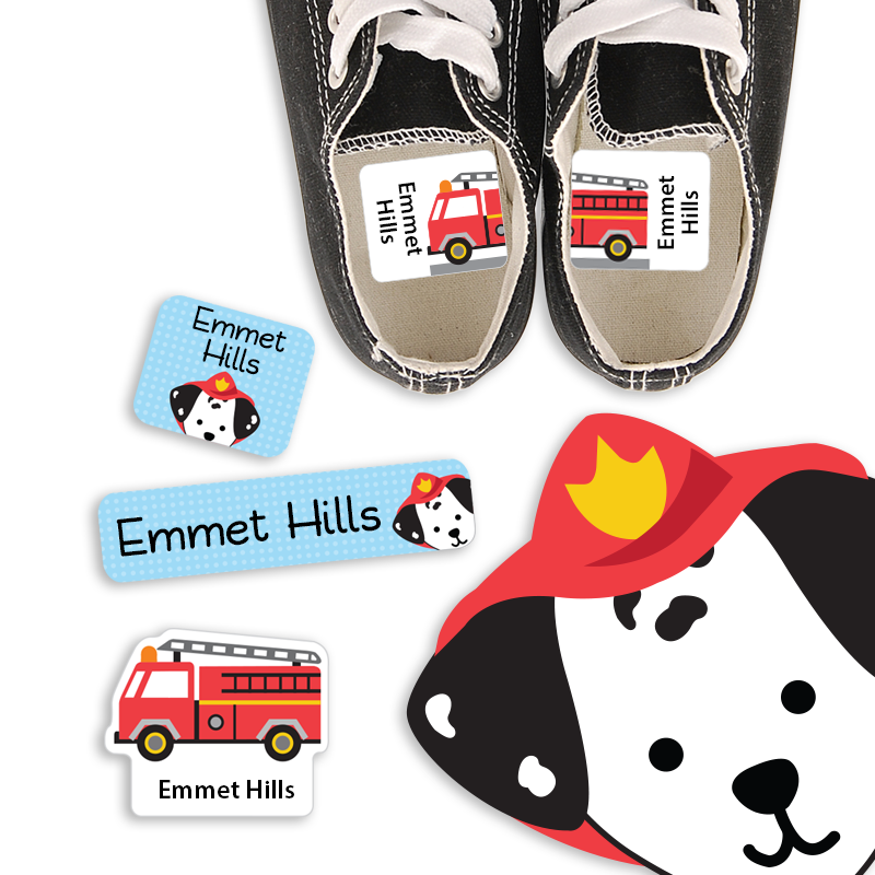 Sparky Dog and his Firetruck for Preschool Labels