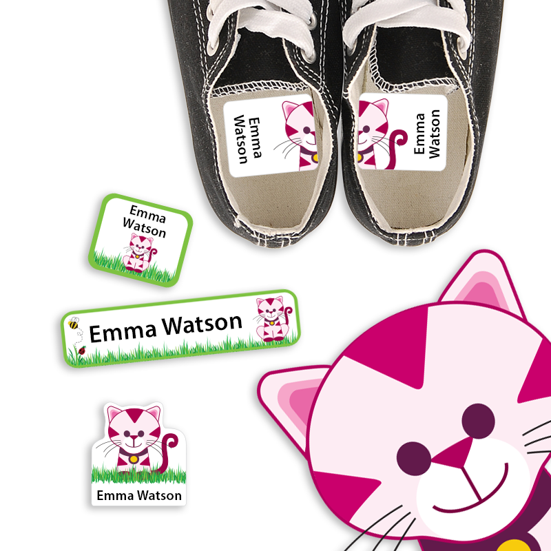 Preschool Labels with Kitty Cat for School