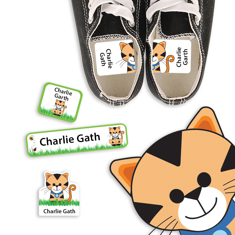 Preschook Labels for Kindergarten with Kitty Cat