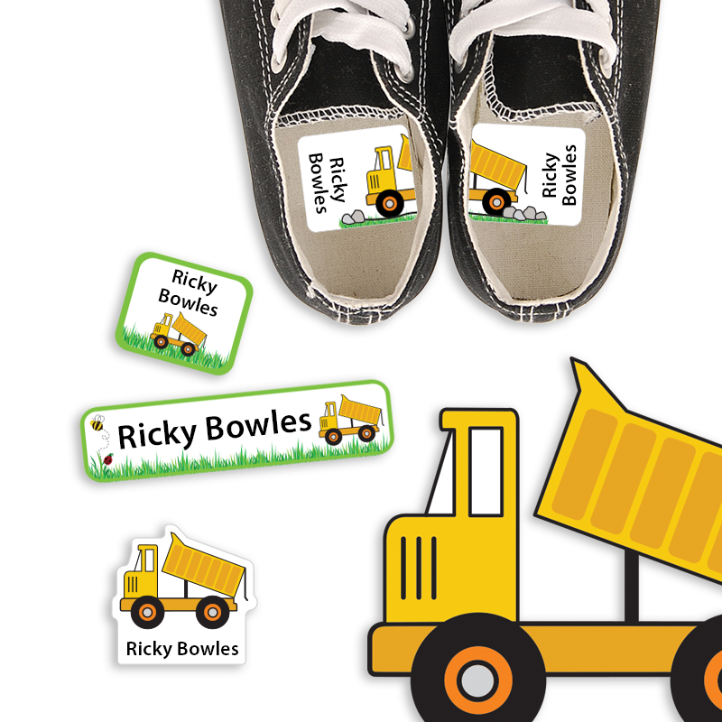 Preschool Labels with Dump Truck