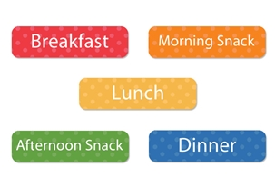 Polka Dots (rainbow) Mealtime Labels