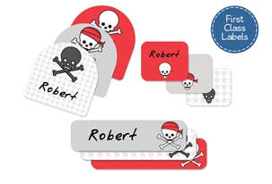 Skulls Pirates (cherry) First Class School Labels