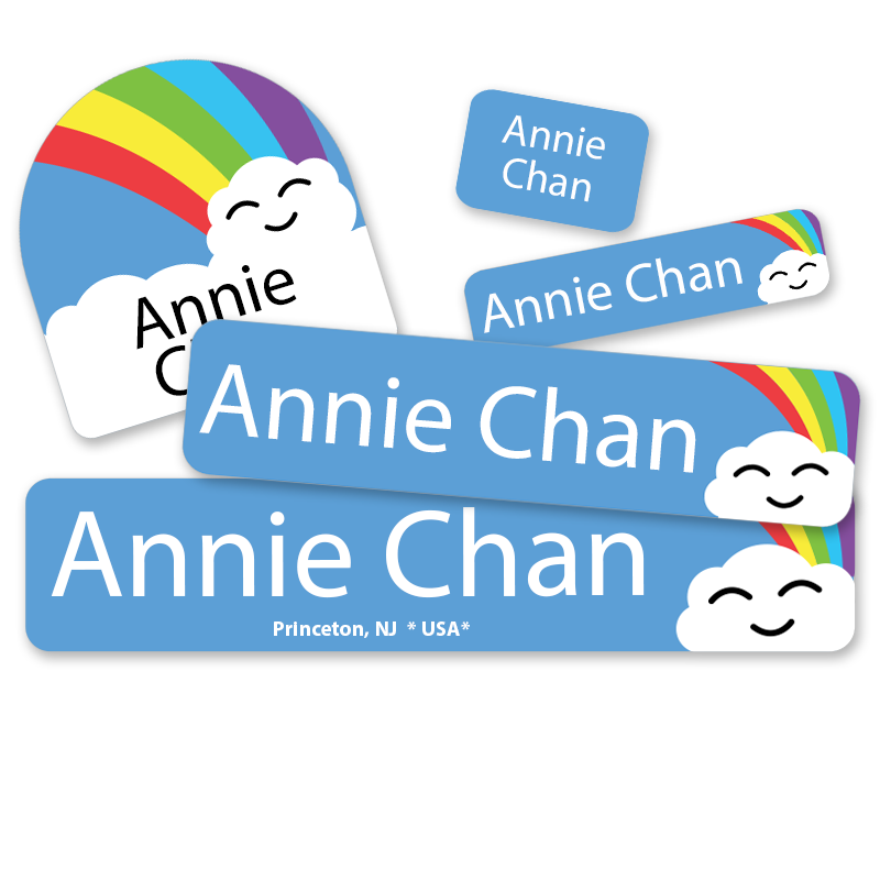 Rainbow Cloud labels with face