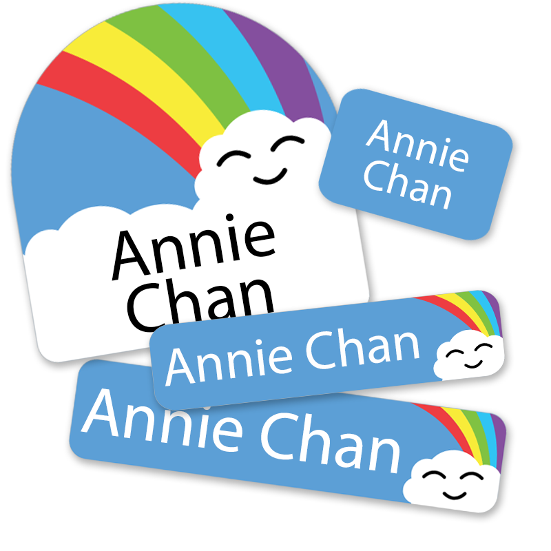 Rainbow Cloud labels with face for Daycare