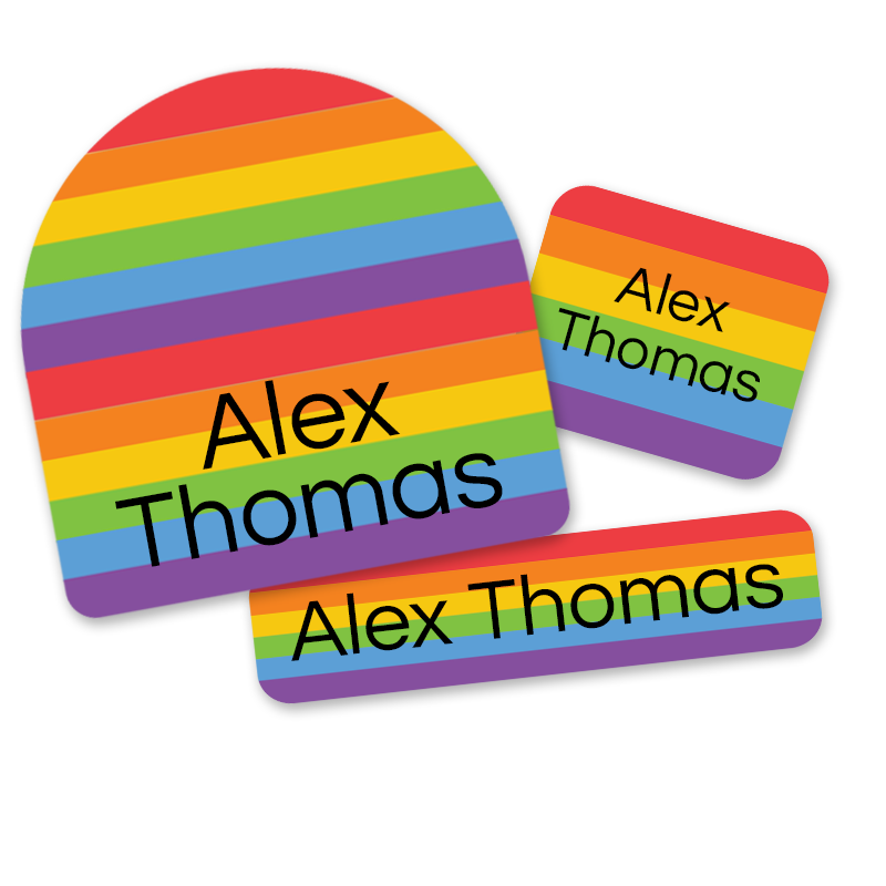 First Class Rainbow Labels for School Pride