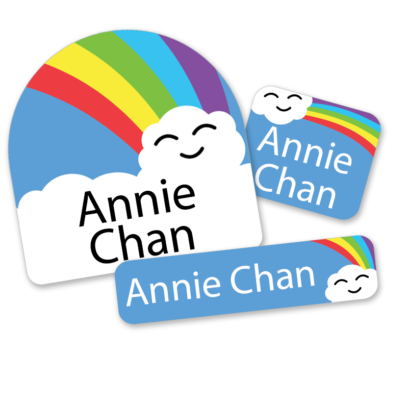 Rainbow labels with Clouds for First Class School