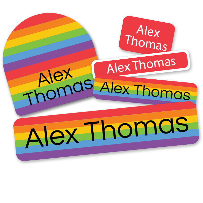 Deluxe school labels with rainbow pride labels