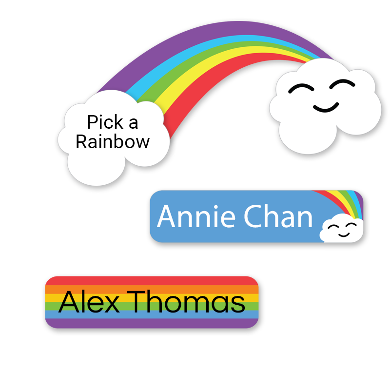 Rainbow labels with clouds rectangle shape