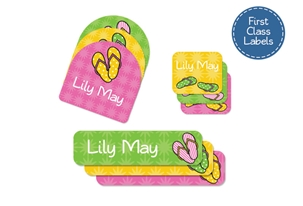 Flip Flops (bright) First Class School Labels