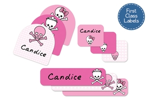 Skulls Hearts (pinks) First Class School Labels