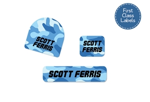 Camo (blues) First Class School Labels
