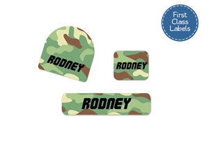 Camo (green mix) First Class School Labels