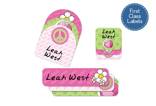Peace (pinks) First Class School Labels