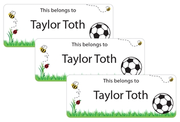 Grassy Scene Soccer Ball - Book Labels