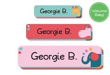 Parade Love (pinks) Welcome Baby Labels