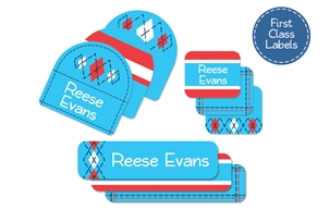 Tailored (turquoise) First Class School Labels