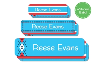 Tailored (turquoise) Welcome Baby Labels