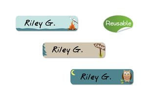 Camptime (aqua) Restickable Slim Labels