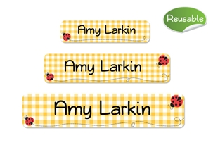 Ladybugs (yellow) Restickable Labels Set
