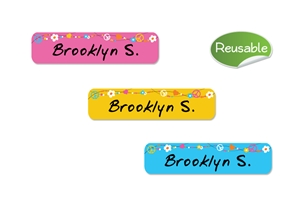 Hippie Love (bright) Restickable Slim Labels