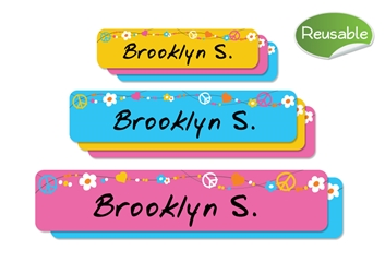 Hippie Love (bright) Reusable Labels Set