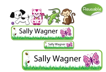 Grassy Scene Reusable Labels Set