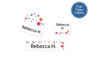 Stars (pink) First Class School Labels