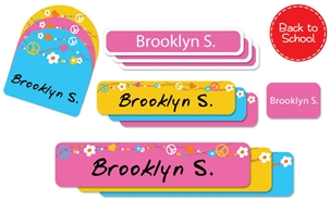 Hippie Love Back to School Labels