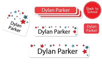 Stars Blue - Back to School Labels