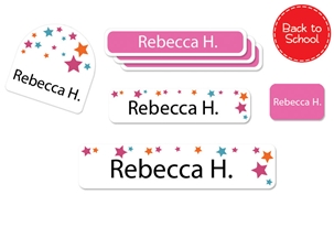 Stars Pink - Back to School Labels