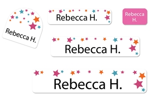 Stars Pink Camp Labels