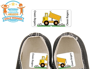 Dump Truck (Grassy) - Preschool Shoe Labels