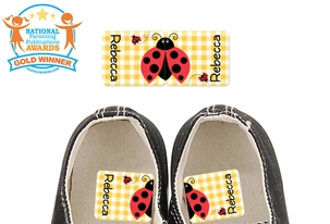 Ladybug (yellow) - Preschool Shoe Labels